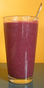Blueberry pumpkin smoothie in a glass