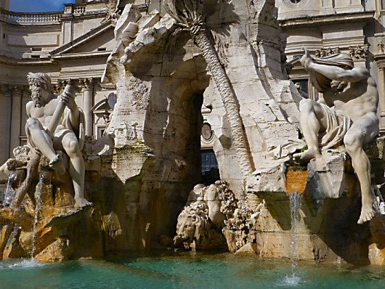 Two of the four river statues from Bernini's Fontana dei Quattro Fiumi.