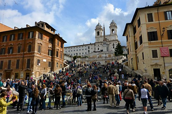 A crowd of people at the Spanish Steps in Rome.