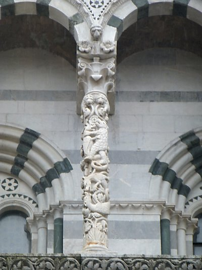 A carved church pillar.