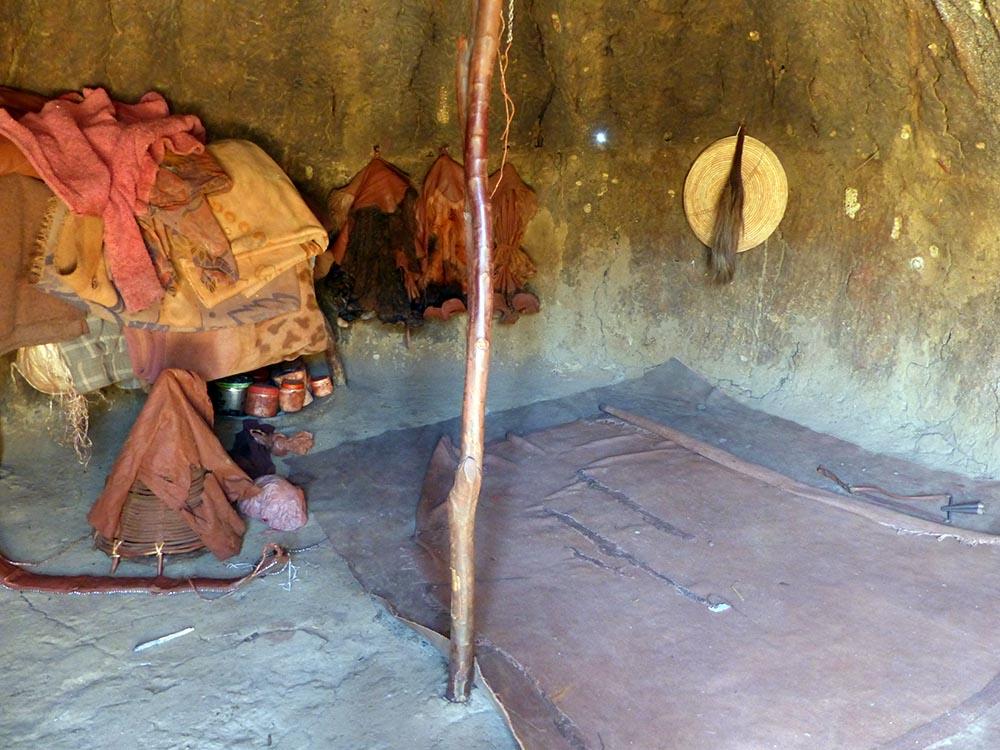 Inside the Himba mud hut.
