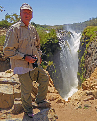 Mike on the edge of Epupa Falls.