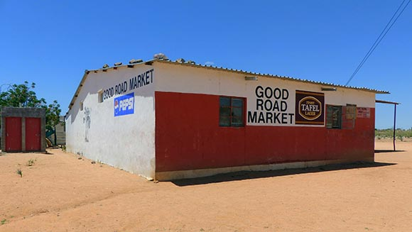 Good Road Market: the sign on a shop