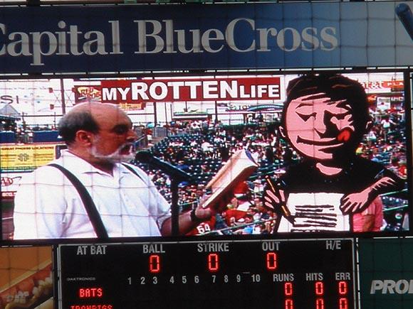 David Lubar reading at an Iron Pigs baseball game