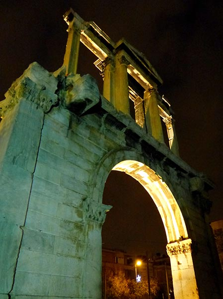 Looking up at Hadrian's Arch
