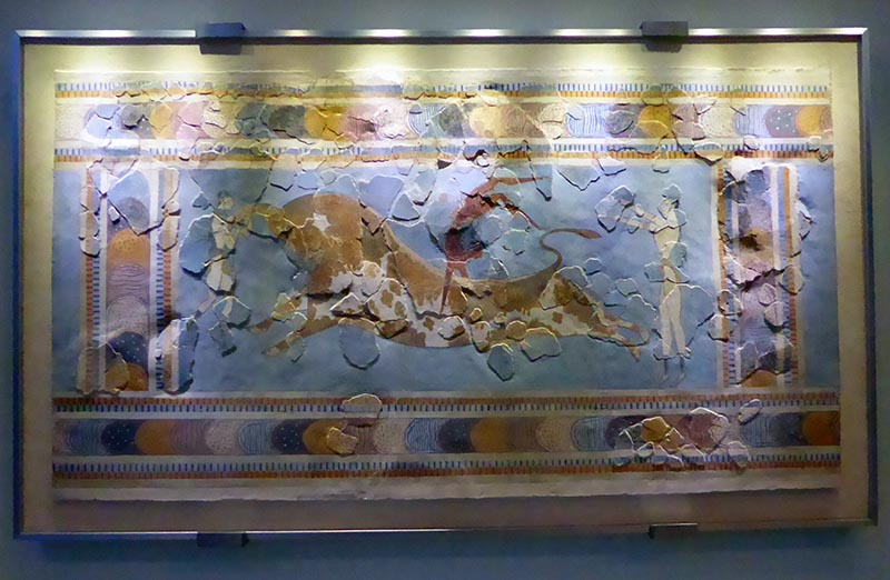 Bull-dancing Fresco, original pieces, Heraklion Museum, Crete, Greece - Jen Funk Weber