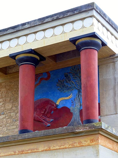 Charging-bull fresco, North Entrance, Knossos, Crete, Greece - Jen Funk Weber