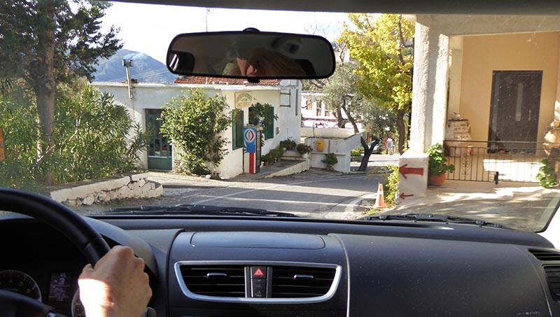 Houses on road 2, driving on Crete - Jen Funk Weber