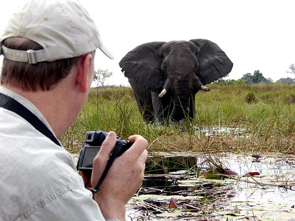 Man and elephant, Boro River, Okavango Delta, Botswana